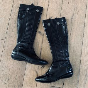 COLE HAAN NIKE Black Patent Leather Knee High Boot